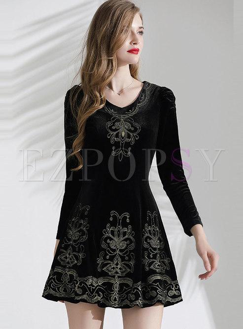 Embroidered High Waisted Mini Velvet Skater Dress