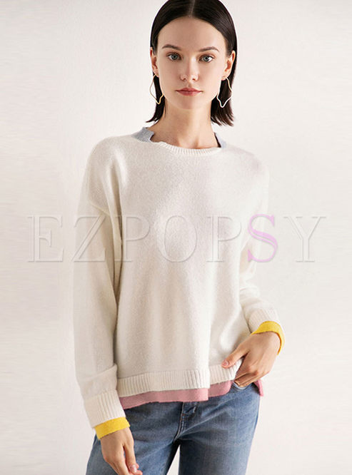 O-neck Color-blocked Pullover Loose Sweater