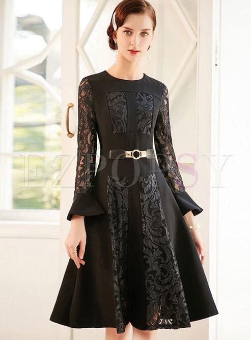 O-neck Flare Long Sleeve Lace Skater Dress