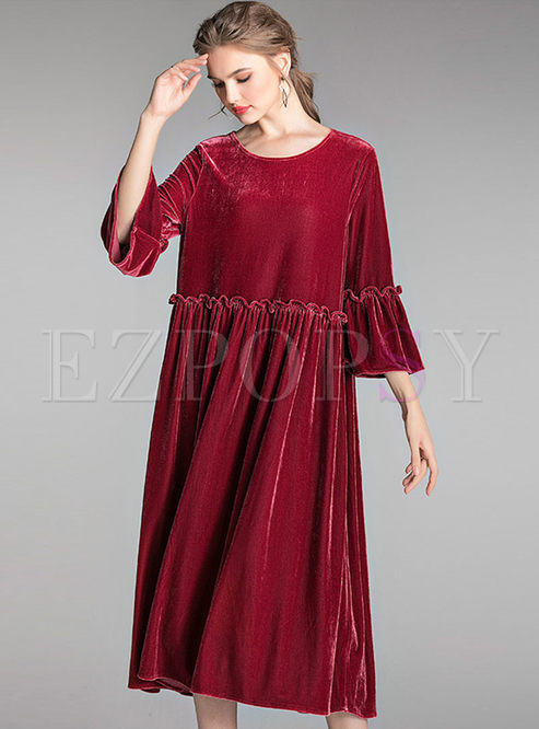Crew Neck Plus Size Flare Sleeve Shift Dress