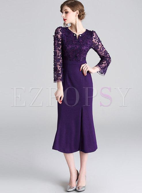 O-neck Lace Waist Mermaid Bodycon Dress