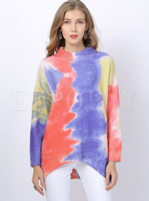 O-neck Print Bat Sleeve Loose Sweater