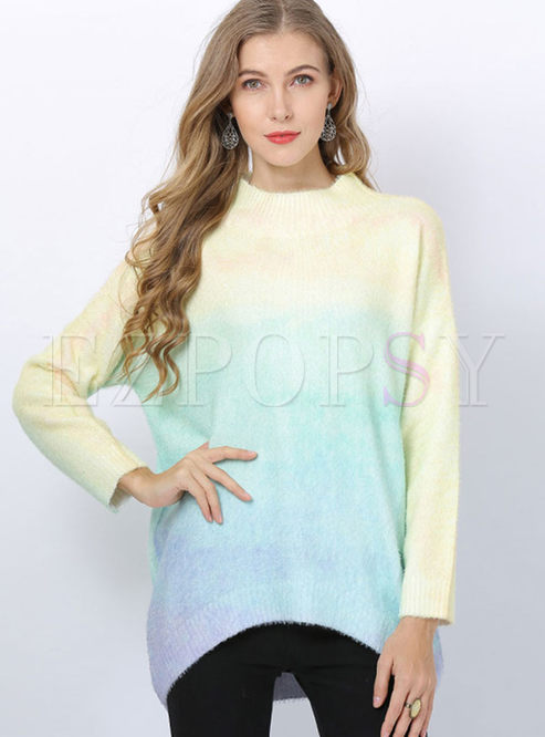 Fashion Gradient Color Loose Pullover Sweater