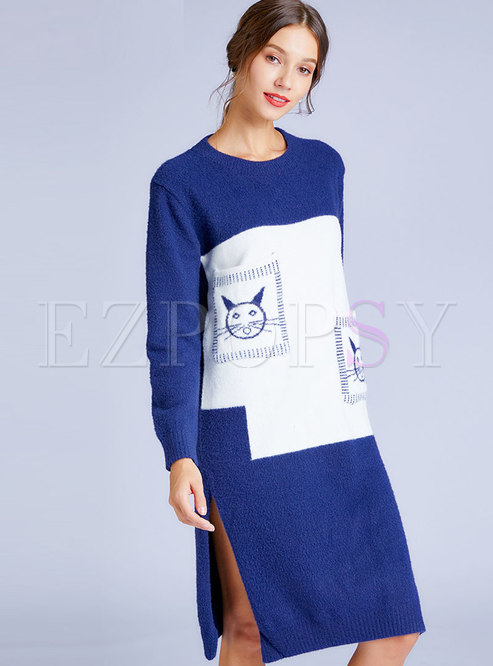 Patchwork Color-blocked Embroidered Split Straight Sweater Dress