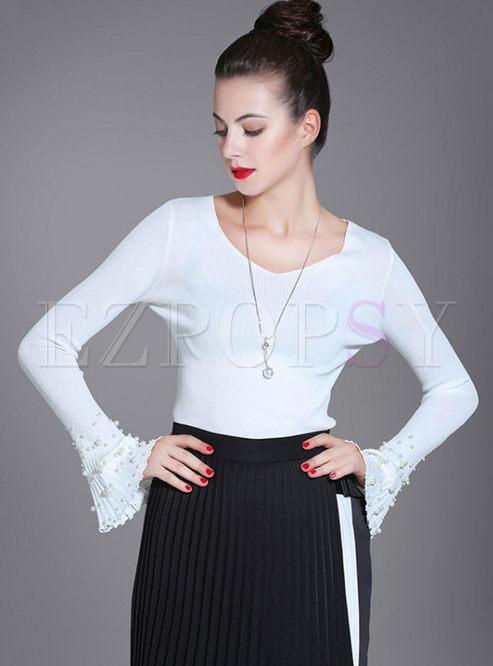 V-neck Flare Sleeve Beads Slim Thin Sweater