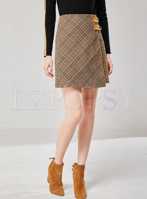 High Waisted Plaid Asymmetric Mini Skirt