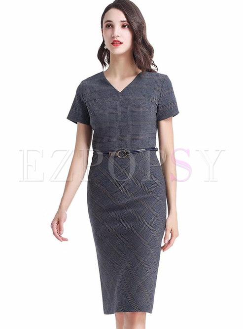 Plaid Patchwork Bodycon Dress With Belt