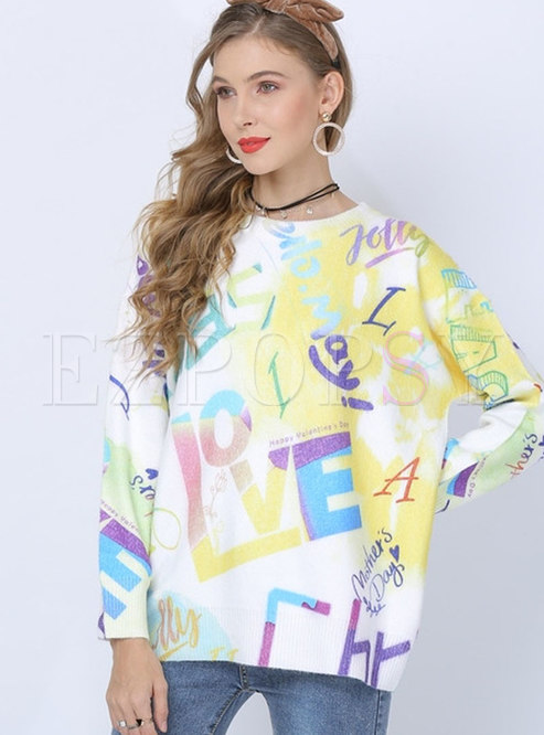 O-neck Print Letter Loose Pullover Sweater