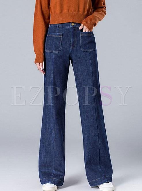 Blue High Waisted Wide Leg Denim Pants
