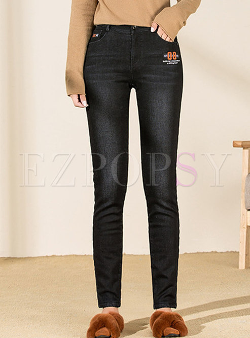 Short Plush Thick Denim Pencil Pants