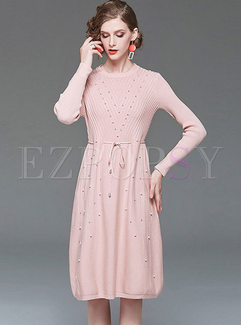 Pink Long Sleeve Beads Waist Knitted Dress