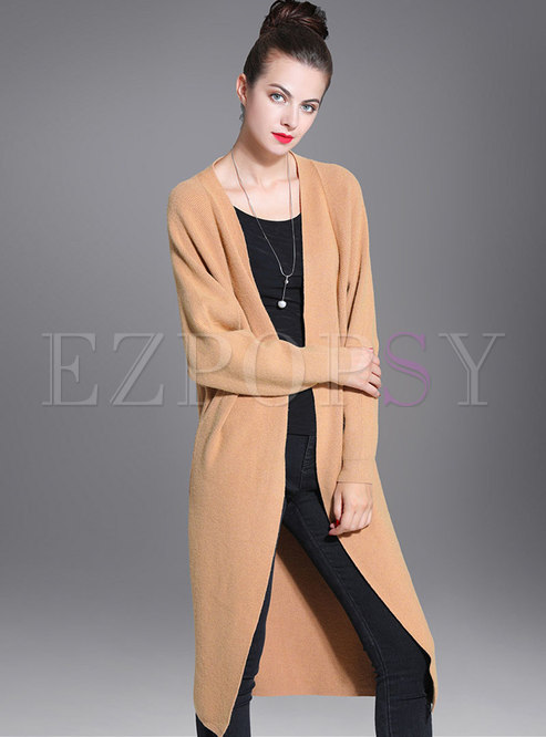 Bat Sleeve Zip-up Long Knit Coat