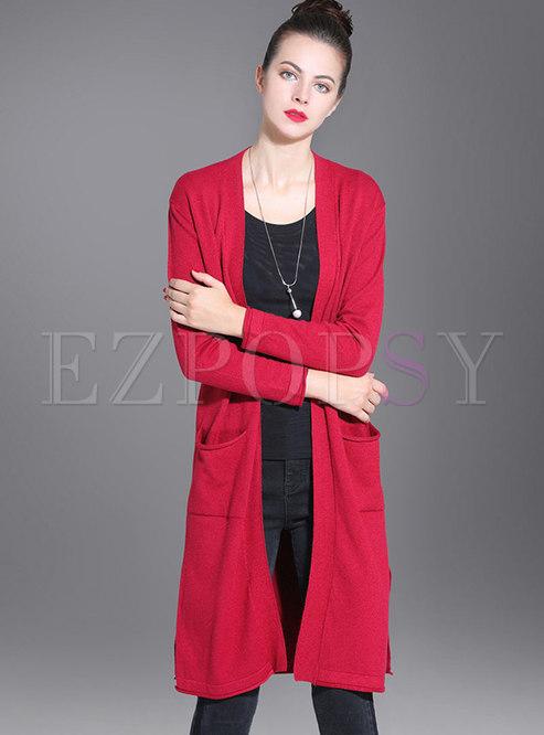 V-neck Zip-up Straight Sweater Coat