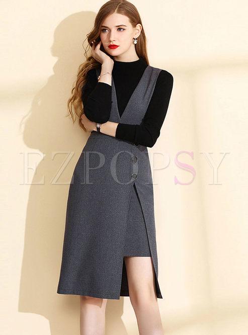 Deep V-neck Sleeveless Patchwork Slim Dress