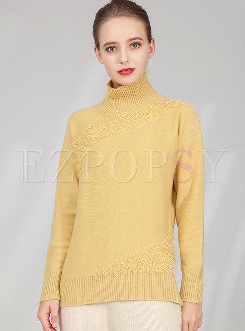 High Collar Tassel Pullover Sweater