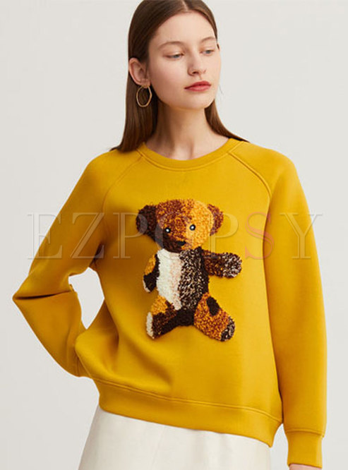O-neck Patchwork Loose Pullover Sweatshirt