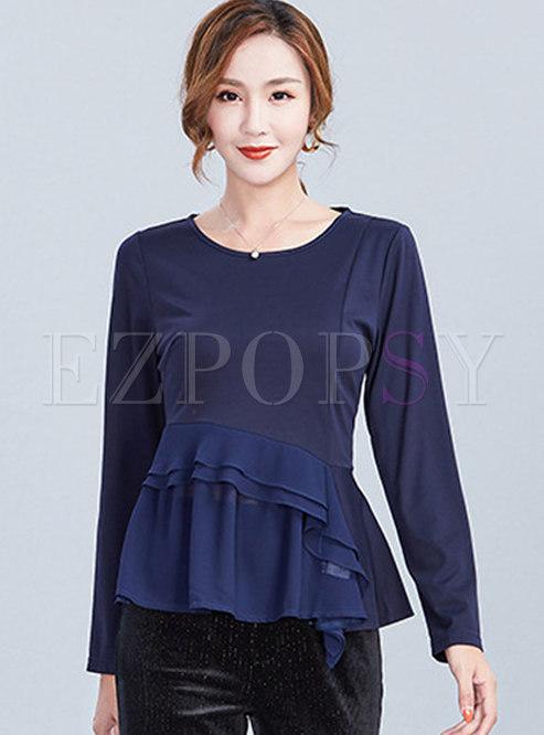 Solid Color O-neck Falbala Waist T-shirt