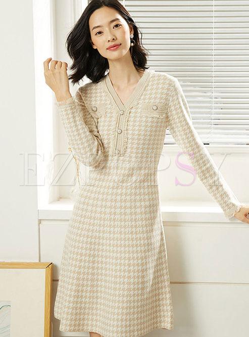 Brief V-neck Plaid Waist A Line Sweater Dress