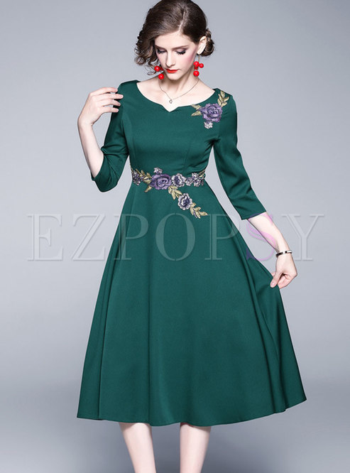 Green Embroidered High Waisted Skater Dress