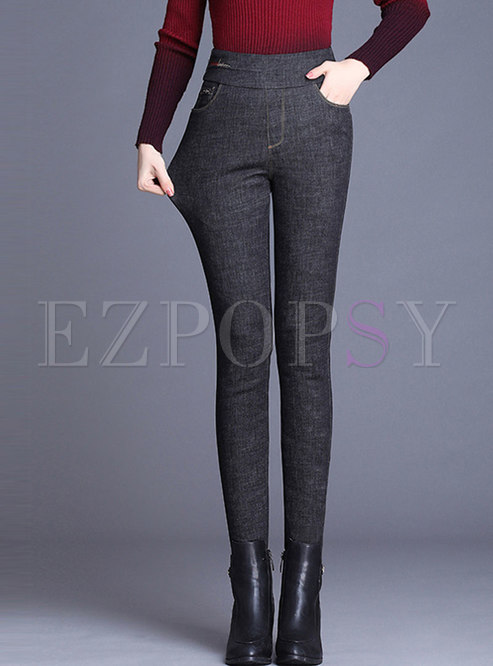 High Waisted Elastic Slim Denim Down Pants