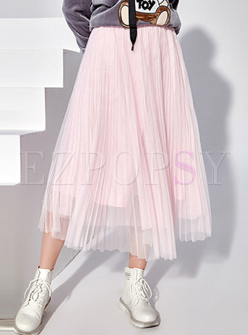 Sweet Elastic Waist Mesh Big Hem Skirt