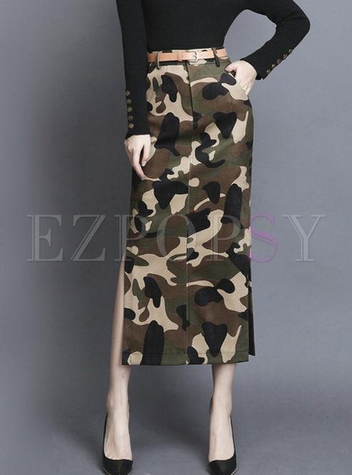 High Waisted Camouflage Slit Midi Skirt