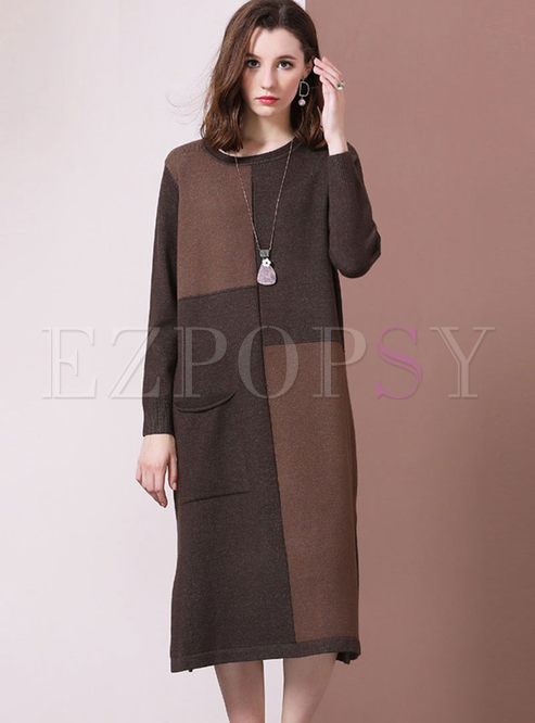 O-neck Long Sleeve Loose Slit Sweater Dress