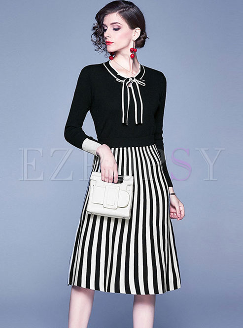 Bowknot O-neck Slim Sweater & Knitted Skirt