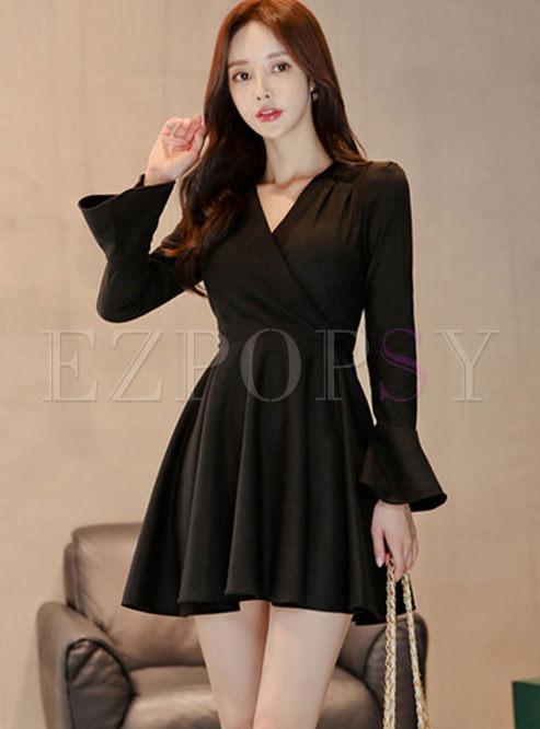 Black V-neck Flare Sleeve Skater Dress