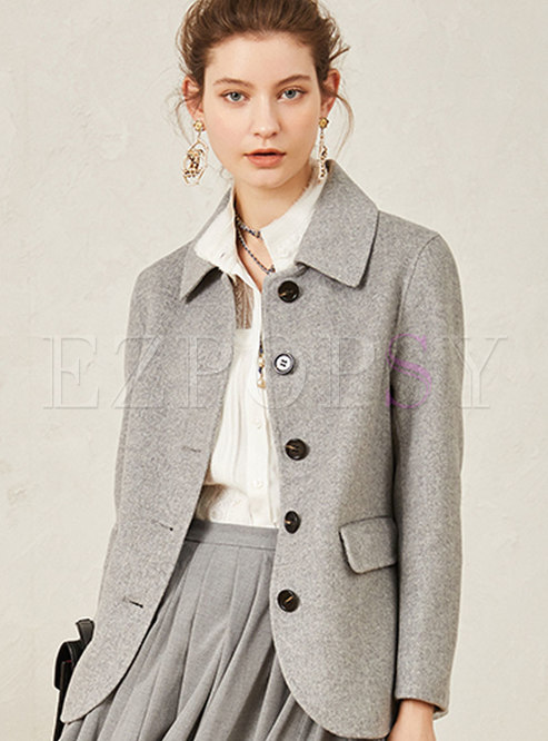 Solid Color Double-sided Wool Coat