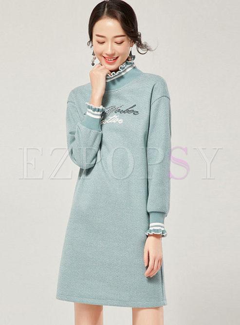 Sweet Standing Collar Long Sleeve Dress