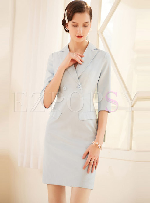 Solid Color Notched Half Sleeve Bodycon Dress