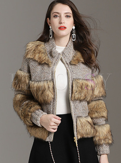 Fashion Patchwork Tweed Fur Jacket