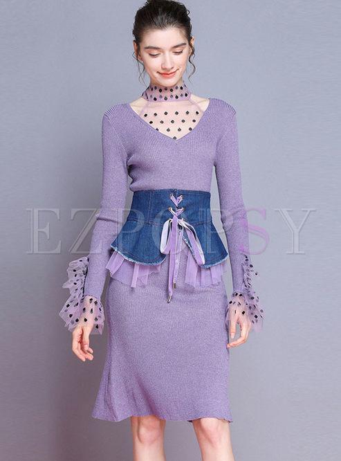 Mesh Patchwork Sweater Dress With Denim Girdle