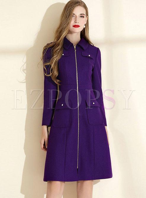Lapel Long Sleeve A Line Dress