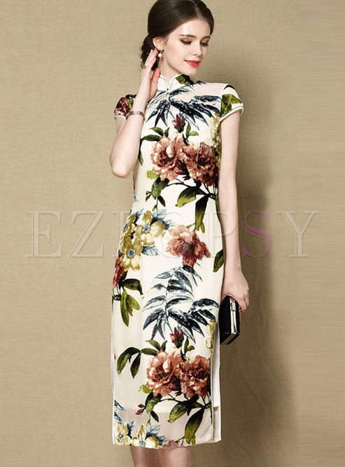 Retro Mandarin Collar Print Silk Cheongsam