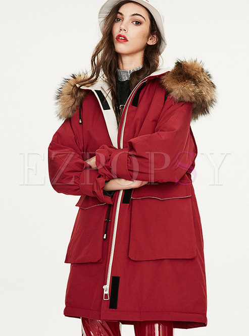 Casual Hooded Orolay Coat With Drawcord