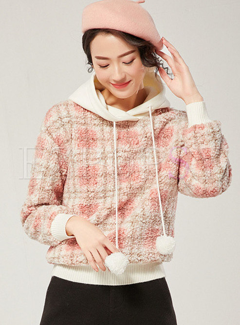 Patchwork Thick Plaid Hooded Sweatshirt