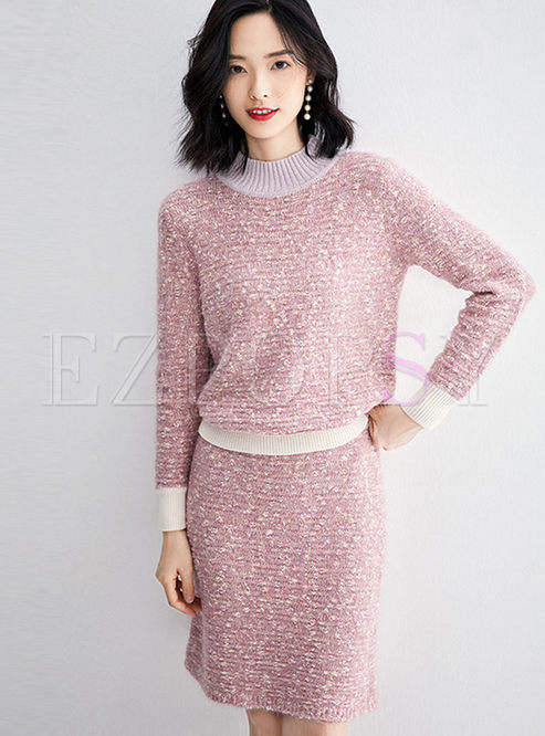 Sweet O-neck Pullover Sweater & Slim Skirt