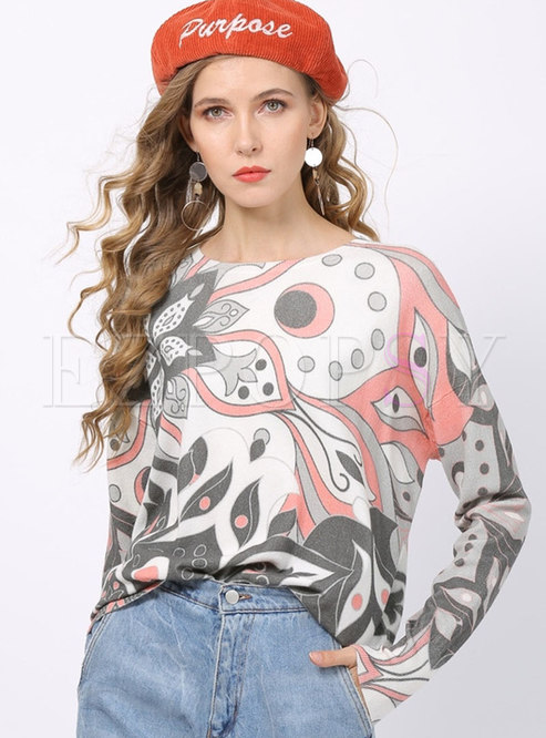 Plus Size O-neck Print Pullover Sweater