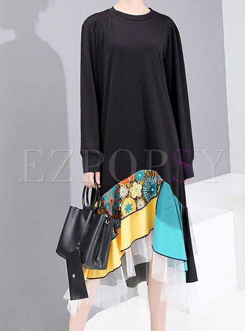 O-neck Loose Patchwork Mesh T-shirt Dress