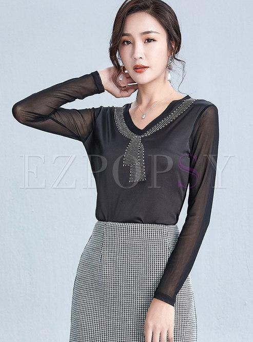 Solid Color Patchwork Diamond T-shirt