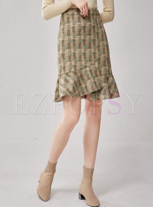 High Waisted Plaid Mermaid Skirt