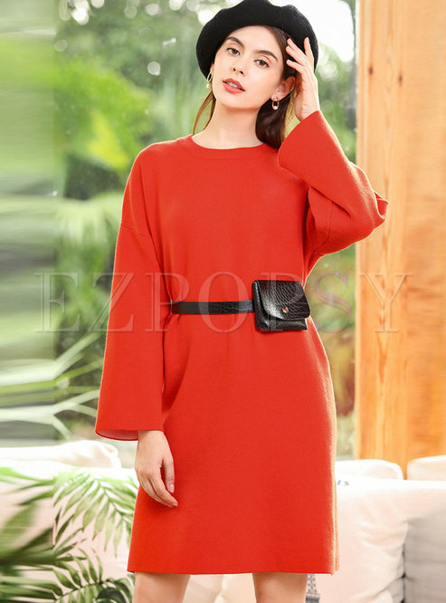 Solid Color Crew Neck Shift Sweater Dress