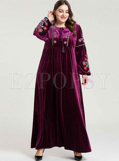 Plus Size Embroidered Maxi Dress