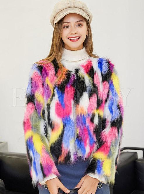 Crew Collar Muti-color Faux Fur Jacket