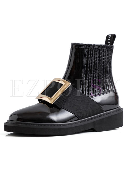 Black Round Head Leather Short Boots