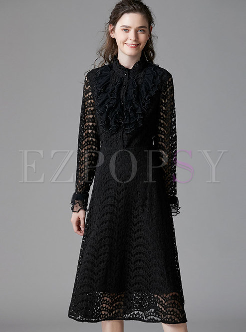 Black Flare Sleeve Lace Openwork Skater Dress