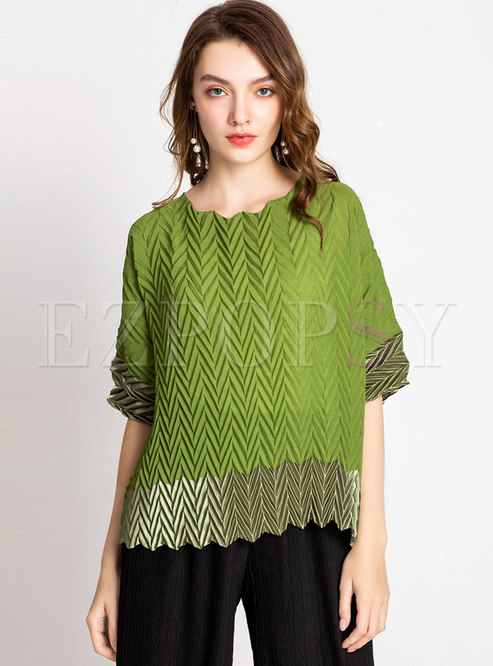 Pleated Color-blocked Straight Loose T-shirt