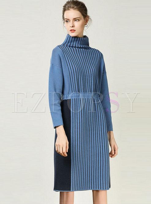 Turtleneck Long Sleeve Loose Sweater Dress